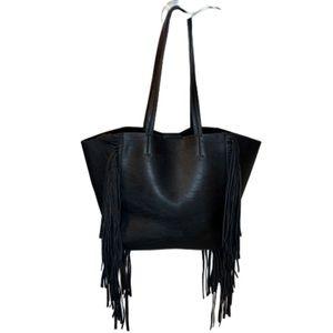 Black faux leather fringe tote